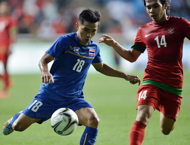 Thailand's striker Chanathip Songkrasin (left) vies for the ball with Indonesia's Rasyid Assahid Bakri during the first round match of the 2014 Asian Games in Incheon on Monday, which ended 6-0