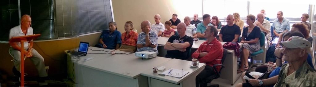 Peter Brierley speaks to Expat Cub members about house building in Thailand Oct. 11, 2014.