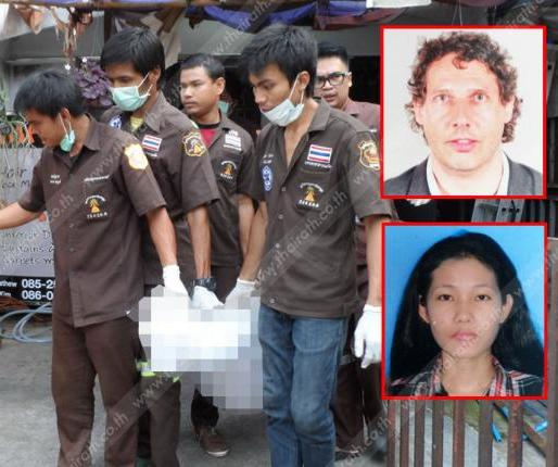 Mathew Mannen, 40, was caught by border police at his hotel room in the Koh Kong province of Cambodia and confessed to murdering his girlfriend Pornpan Kaewkok-klang, 35, police said