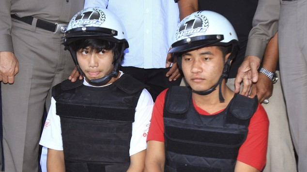 Burmese workers, Saw, left, and Win, who police say have confessed to killing two British tourists Hannah Witheridge, 23, and David Miller, 24