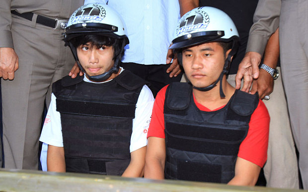 Zaw Lin and Win Zaw Htun, both accused of killing two British backpackers on Thai island reportedly deny committing the crimes as criticism of investigation mounts