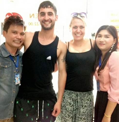 Sam Austin (Second Left) moved to Thailand to start a new life just a few weeks ago
