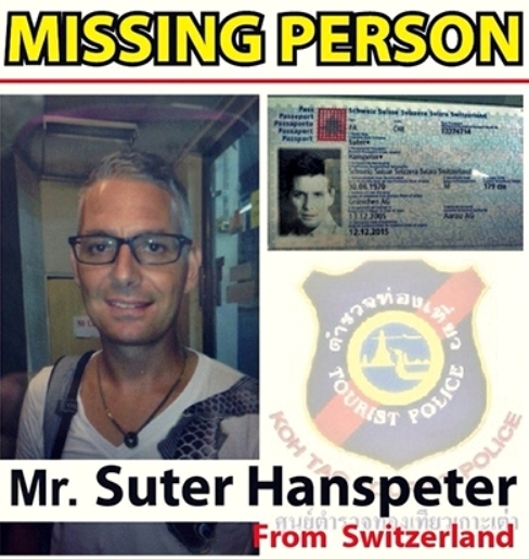 Swiss Tourist Suter Hanspeter Missing on Koh Tao