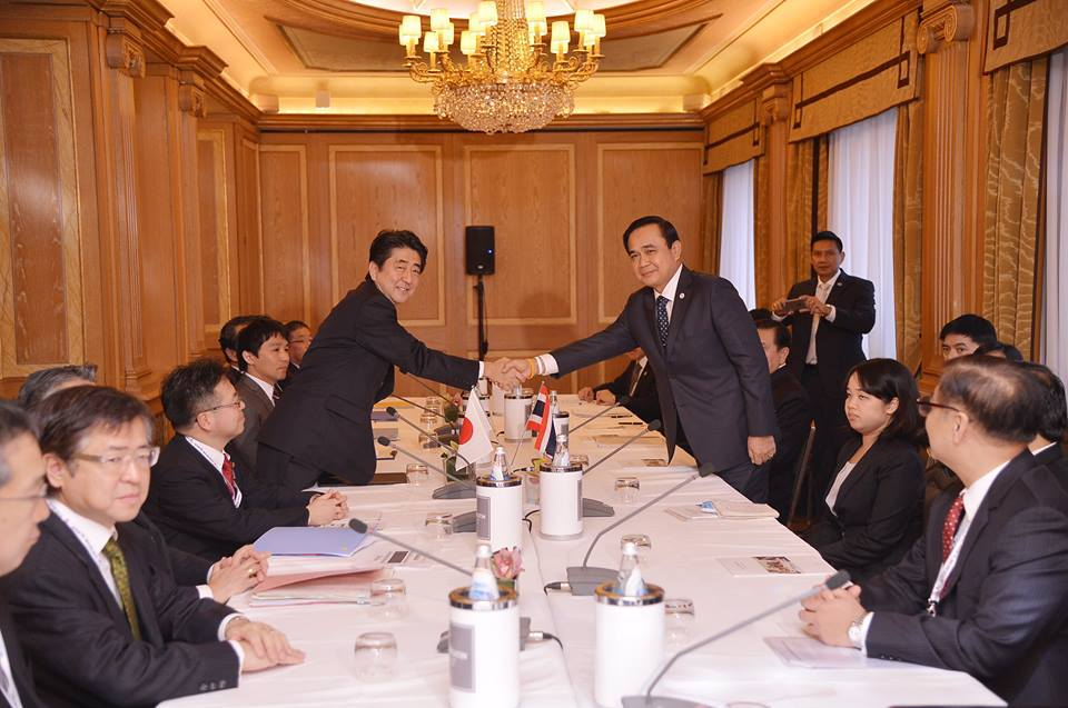 hailand's Prime Minister General Prayut Chan-o-cha meets with Mr. Shinso Abe, the Japanese Prime Minister