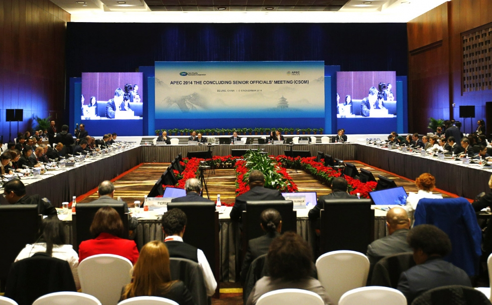 APEC 2014 Concluding Senior Officials Meeting at China National Convention Center in Beijing.