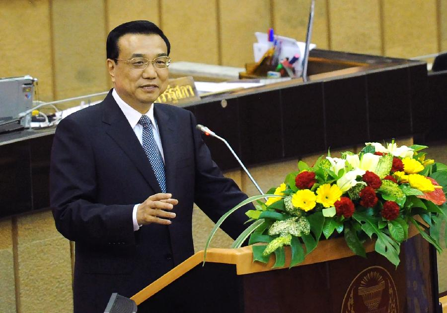 Chinese Premier Li Keqiang delivers a speech at the Thai parliament in Bangkok, Thailand