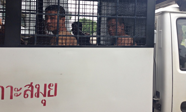 Zaw Lin (left) and Wai Phyo are transported to court for a hearing