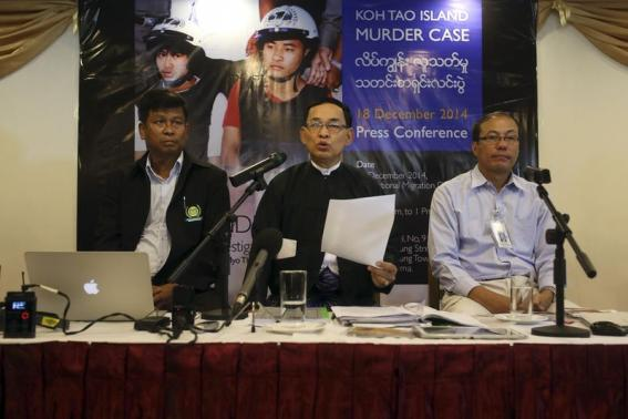 Htoo Chit, Aung Myo Thant and Kyaw Thaung of a committee set up by Myanmar's embassy in Thailand to investigate the Koh Tao island murder case address the media at Orchid hotel in Yangon