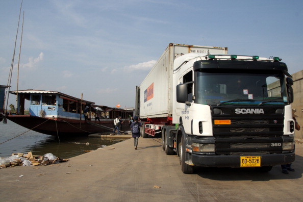 Cargo trucks parking in Chiang Saen Commercial Port. An important gateway in northern Thailand to the Greater Mekong Subregion. Located on the mouth of the Sop Kok River in Chiang Saen district of Chiang Rai.