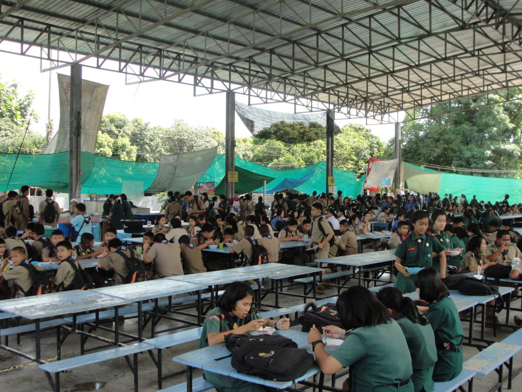 Students eating lunch at the canteen in Chiang Rai