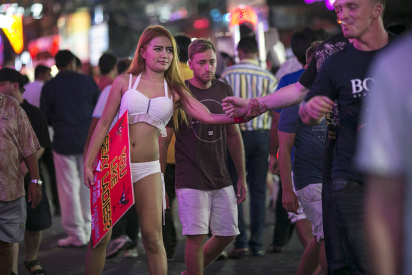 Girl trying to get customets in Pattaya