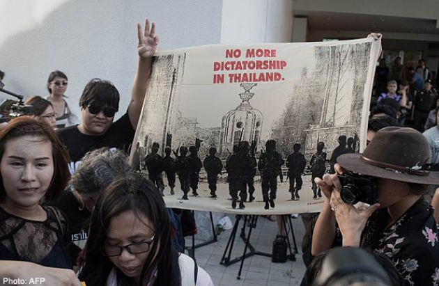 Anti Coup Activists Hold Banned Demonstration in Central Bangkok