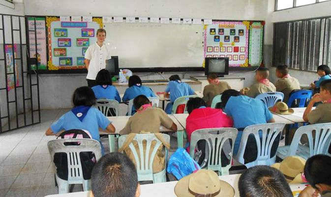 Teaching in a rural school outside of Chiang Rai. Photo by Tom Gore