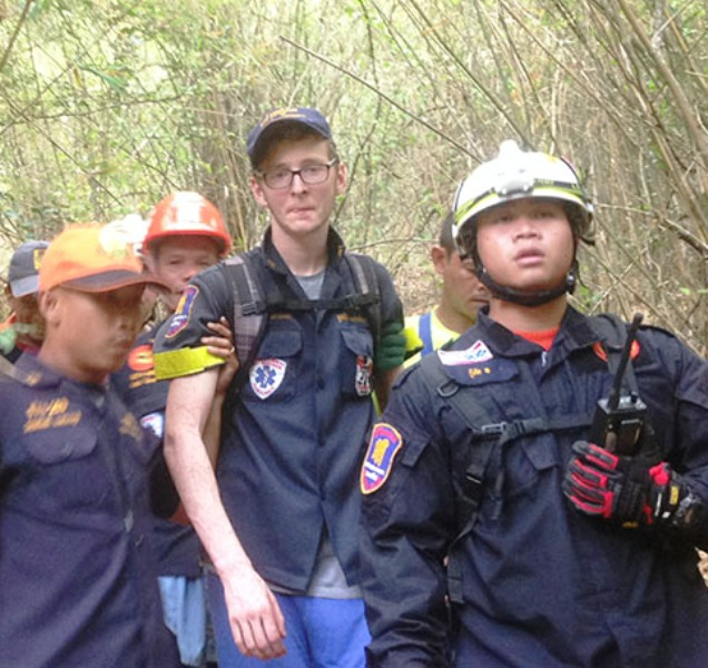 German National Michael Heck Roth Rescued from Cliff at Khao Ta Mong Lai Forest Park