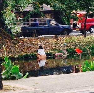 Anti-Chinese tourist sentiments surged after a photograph made the rounds of someone shamelessly taking a daytime dump in one of Chiang Mai's historic canals.