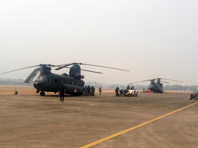 """Singapore Defence Minister Ng Eng Hen said, """"It [the Chinooks] will be equipped with a 5,000-litre water bucket from the Singapore Civil Defence Force."""