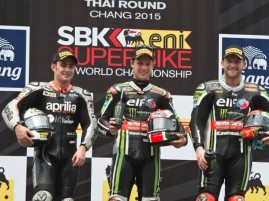 Rea on the podium with Haslam and Sykes