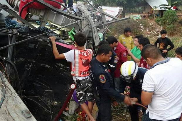 Tour Bus Accident in Phitsanulok 6 Dead, 42 Injured