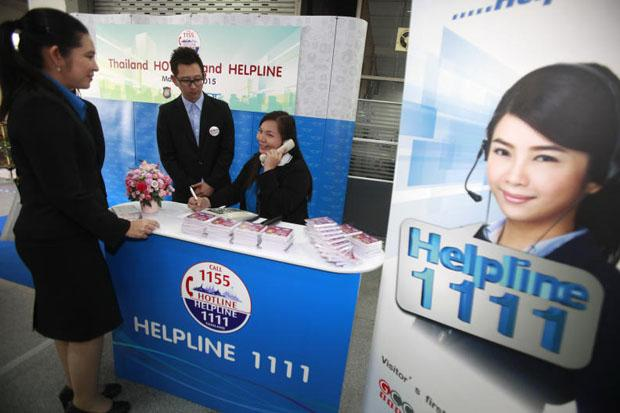 The government officially launched the foreign-language service of its hotline number on Wednesday. (Photo by Thanarak Khunton)