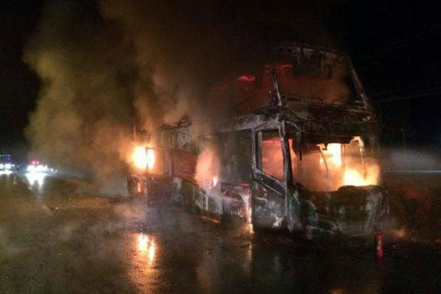 Thrity Four European's Stranded when Bus Goes up in Flames