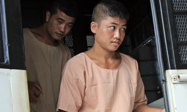 Burmese migrant workers Zaw Lin (l) and Wai Phyo arrive at court in Koh Samui, accused of killing two British tourists. Photograph: Jacques Herremans-AFP