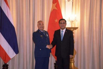 Prime Minister Prayut Chan-o-cha (right) welcomes ACM Xu Qiliang, vice-chairman of China's Central Military Commission, at Government House   Please credit and share this article with others using this link:http://www.bangkokpost.com/news/security/540599/thailand-china-deepen-defence-ties. View our policies at http://goo.gl/9HgTd and http://goo.gl/ou6Ip. © Post Publishing PCL. All rights reserved.