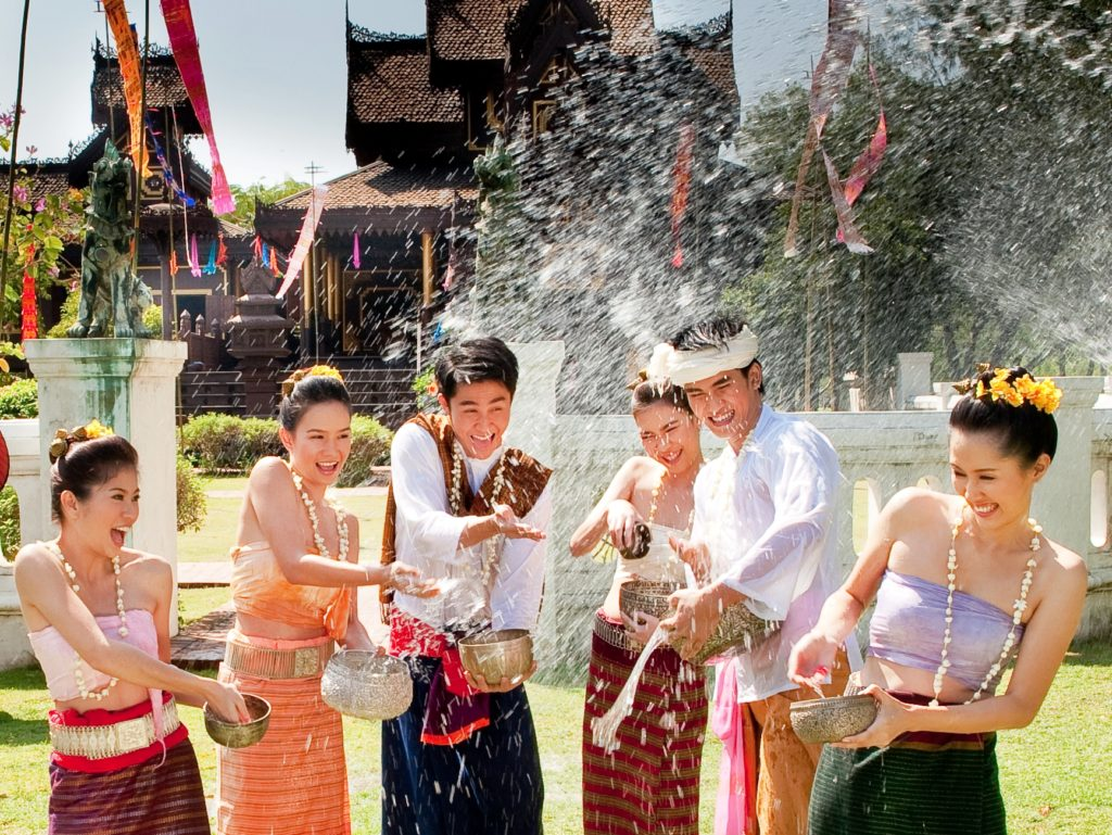 Thai's New Year Songkran festival. Between April 11 and April 15