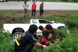 The driver lost control of the truck and it plunged into a roadside ditch