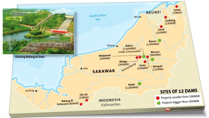 Massive hydroelectric dams in Sarawak are destroying the remaining forests of the region while violating the rights of the indigenous people