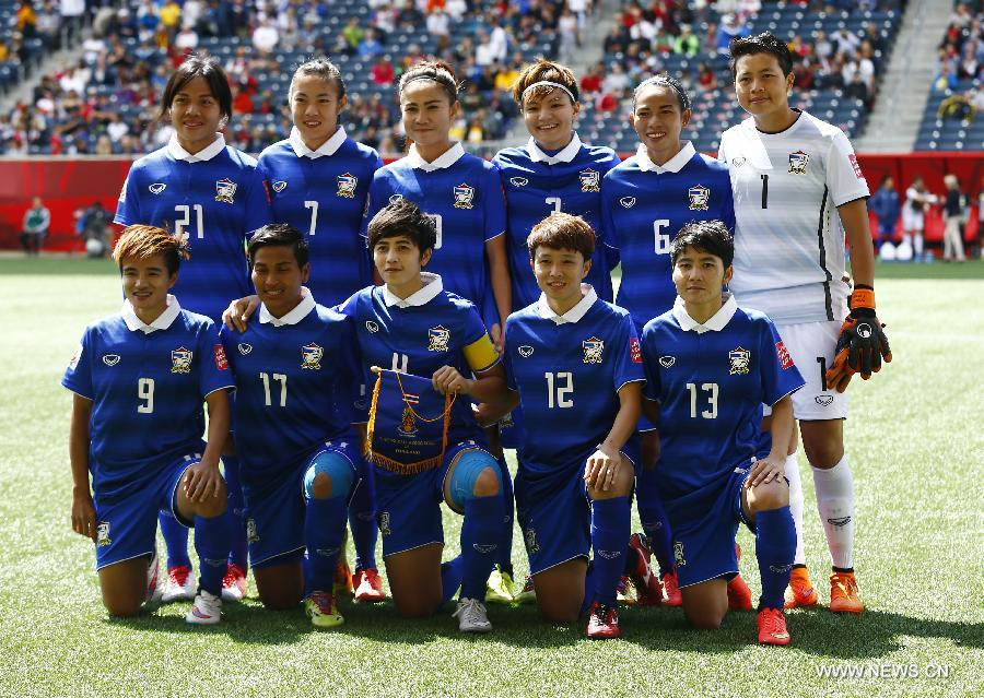 Players of Thailand line up for photograph before the Group B match