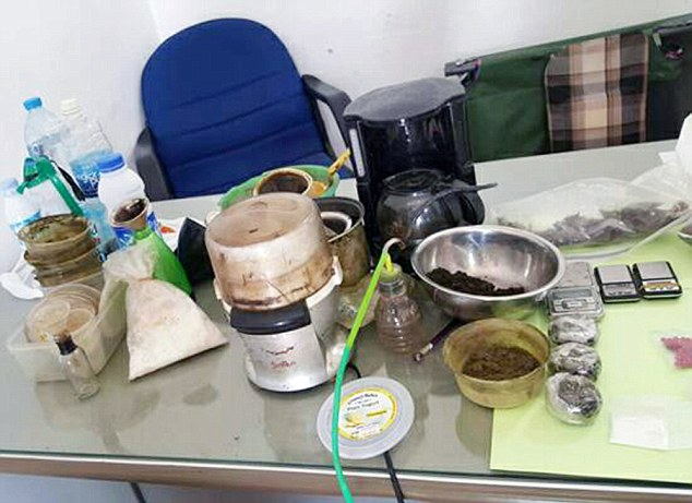 Pic shows: The drug seized by police. A British man has been arrested in Cambodia for drug dealing. Emery William, 48, who lives in the coastal town of Sikanoukville in the South West was busted by narcotics police. They seized a large amount of drugs during the raid including 356 amphetamine pills which are smoked, as well as liquid ketamine, 12.3 grams of crystal meth and also a mobile phone, cash and drug paraphernalia. The raid came after a tip-off and was led by Choun Narin, the local police chief. Amphetamine pills and crystal meth are widespread in the resort and sold to tourists and residents. They can be bought openly from motorcycle taxi drivers, tuk-tuk drivers and they are also available at nightspots along  Serendipity beach. Although Cambodia does not have the death penalty for drug trafficking, it is still one of the countries with the harshest anti-drug laws in the world with those convicted sentenced to lengthy sentences and very often life in prison for possessing drugs. (ends)