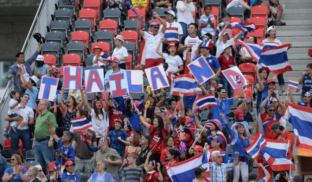Thailand fans cheer their team against Ivory Coast during the first half of a FIFA Women's World Cup soccer match in Ottawa, Ontario