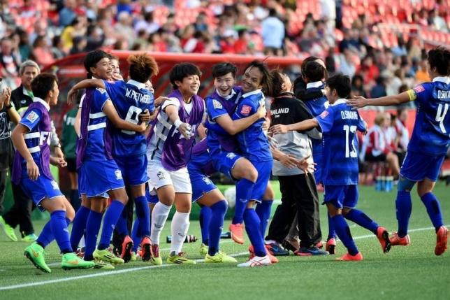 Players on the Thailand bench react after a goal against Ivory Coast in the first half of a Group B soccer match in the 2015 FIFA women's World Cup at Lansdowne Stadium. Mandatory