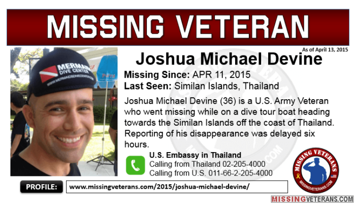 Family of Missing U.S. Veteran, Josh Devine Post $5000 Reward for Information
