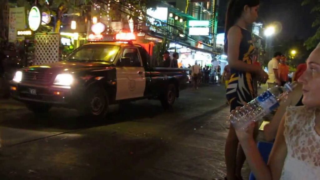 Thai police shakedown at a bar restaurant Khao San Road , Bangkok