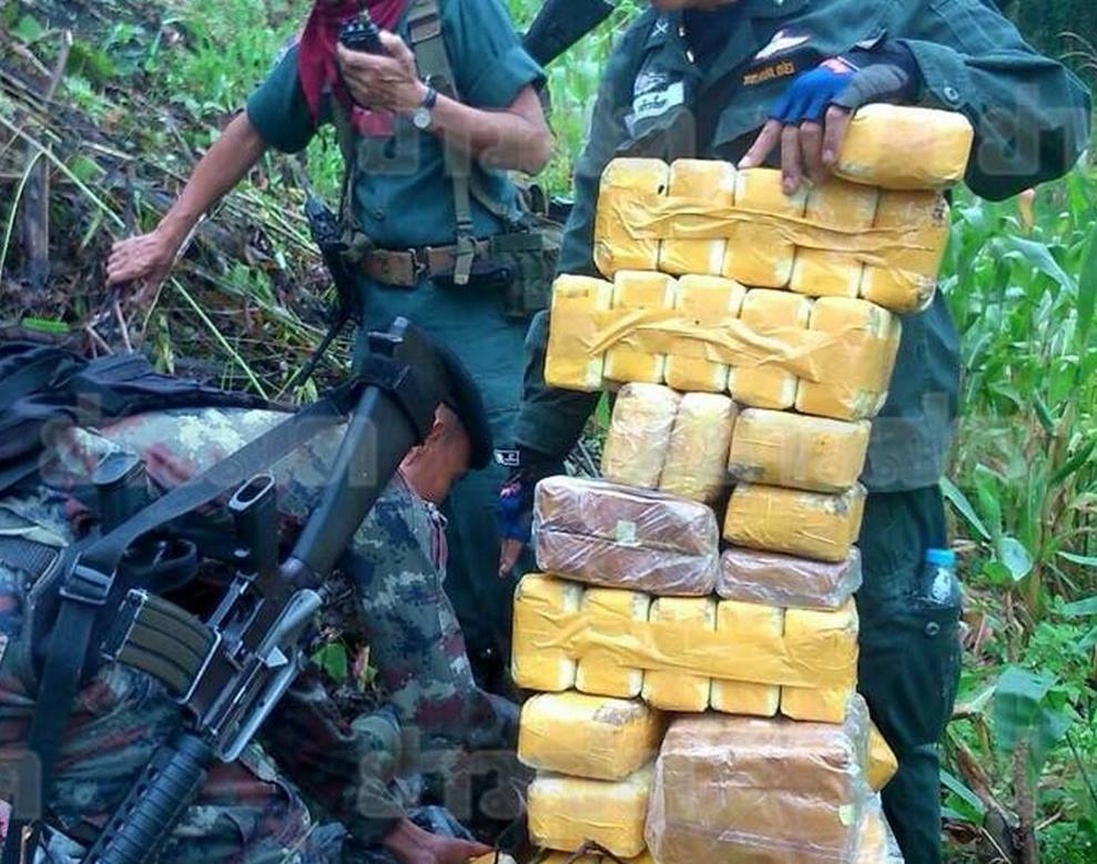 """Security officers seize 12 kilogrammes of crystal methampheamine, or """"ice"""" following a clash with armed smugglers along the Thai-Myanmar border in Chiang Mai on Tuesday morning"""
