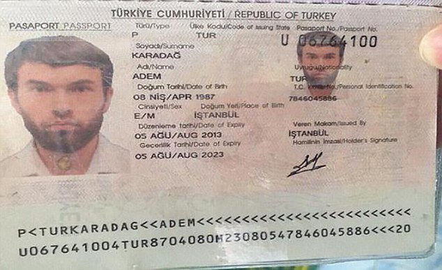 """SuppliedNicholas Razzell 29.08.15 M) 07976 449 585ref: nxr Thai police Pic shows: XXX PBIOUS FAKE PASSPORT - HAS TWO """"DATE OF EXPIRY LINES XXX Alleged Turkish suspect called Adem Karadag arrested in Bangkok for the Erawan explosion in Bangkok. XXX NOTE HAS TWO DATE OF EXPIRY LINES SO OBVIOUS FAKE ID XXX - see story. Pic by: Nick Razzell"""