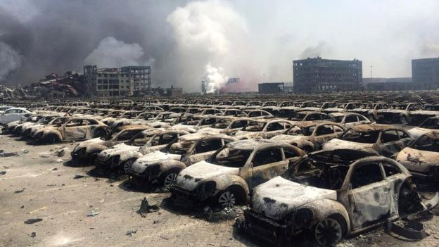 Buildings and hundreds of cars in the port area were destroyed