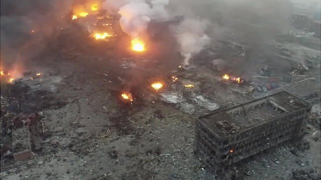 Drone footage shows Tianjin blast site