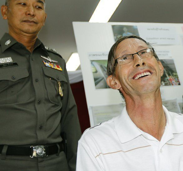 Hastings, who appeared at a news conference at Bangkok's Immigration Detention Centre after his arrest, was expelled from Thailand to face trial in the UK