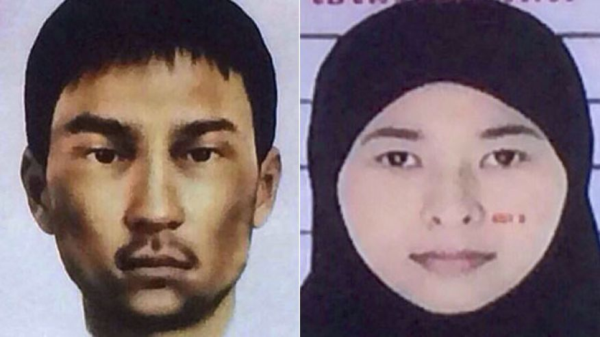 These images show two suspects wanted by Thai police in connection with this month's deadly bombing in Bangkok