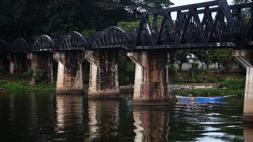 The bridge on the River Kwai, immortalized in the 1957 Hollywood movie classic, is still in use in Kanchanaburi, Thailand,