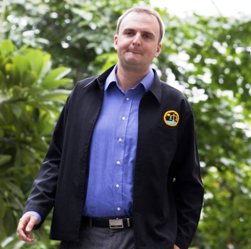 British human rights activist Andy Hall arrives at Phra Khanong provincial court for a trial in Bangkok, Thailand