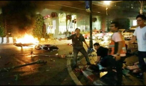 According to officials the bomb went off outside the Erawan Shrine in the downtown Chidlom district of the Thai capital.