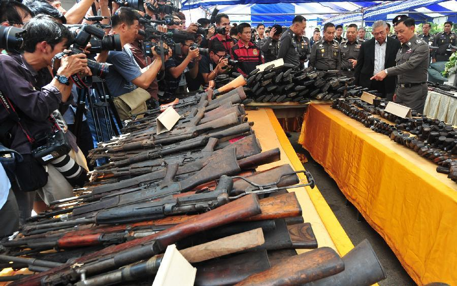 34,350 seized guns at an ironworks factory near Bangkok, Thailand, July 15, 2014
