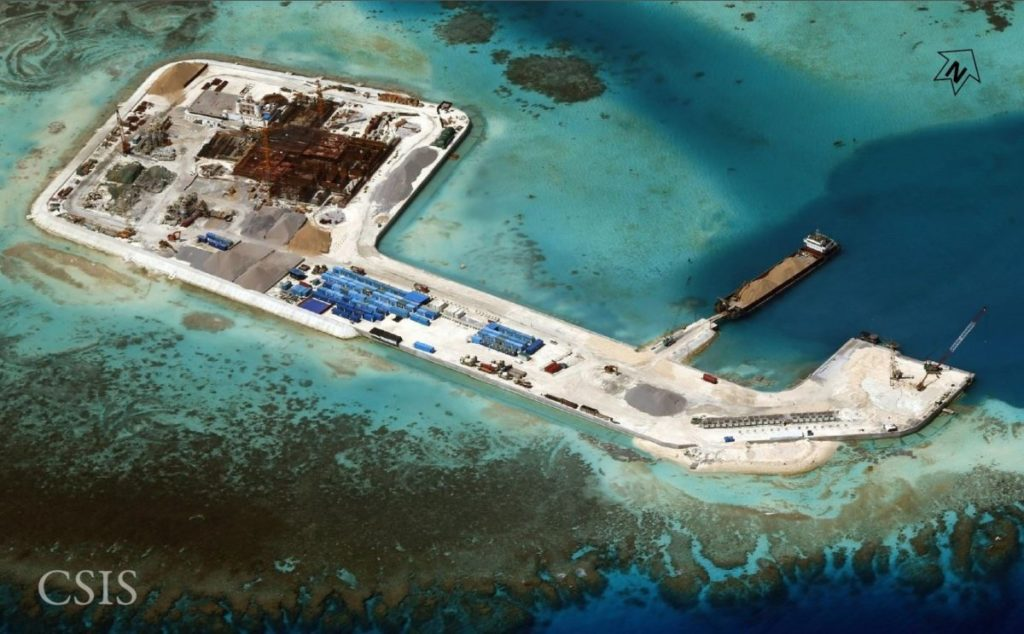 Satellite images show a dramatic expansion of Chinese outposts in the South China Sea.