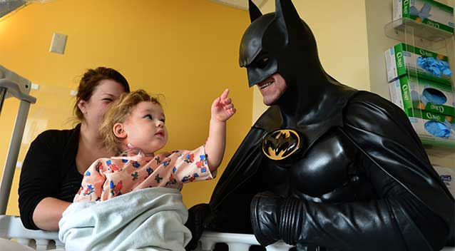 Lenny Robinson delighted thousands of children by impersonating Batman at hospitals and charity events