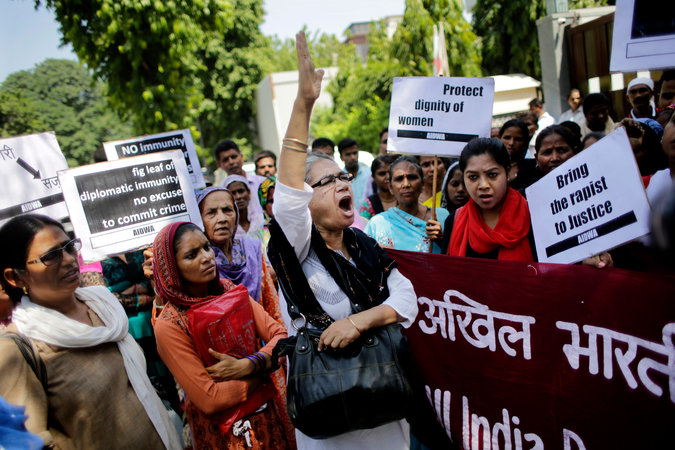 Activists protesting this month outside the Saudi Embassy in New Delhi after a Saudi diplomat was accused of raping two Nepali women. Credit Altaf Qadri