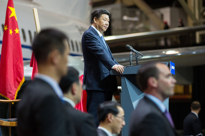 President Xi Jinping of China addressing workers at the Boeing plant at Paine Field in Everett, Washington