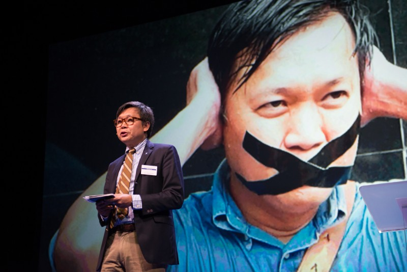 Thai journalist Pravit Rojanaphruk speaking in the 2015 Oslo Freedom Forum.